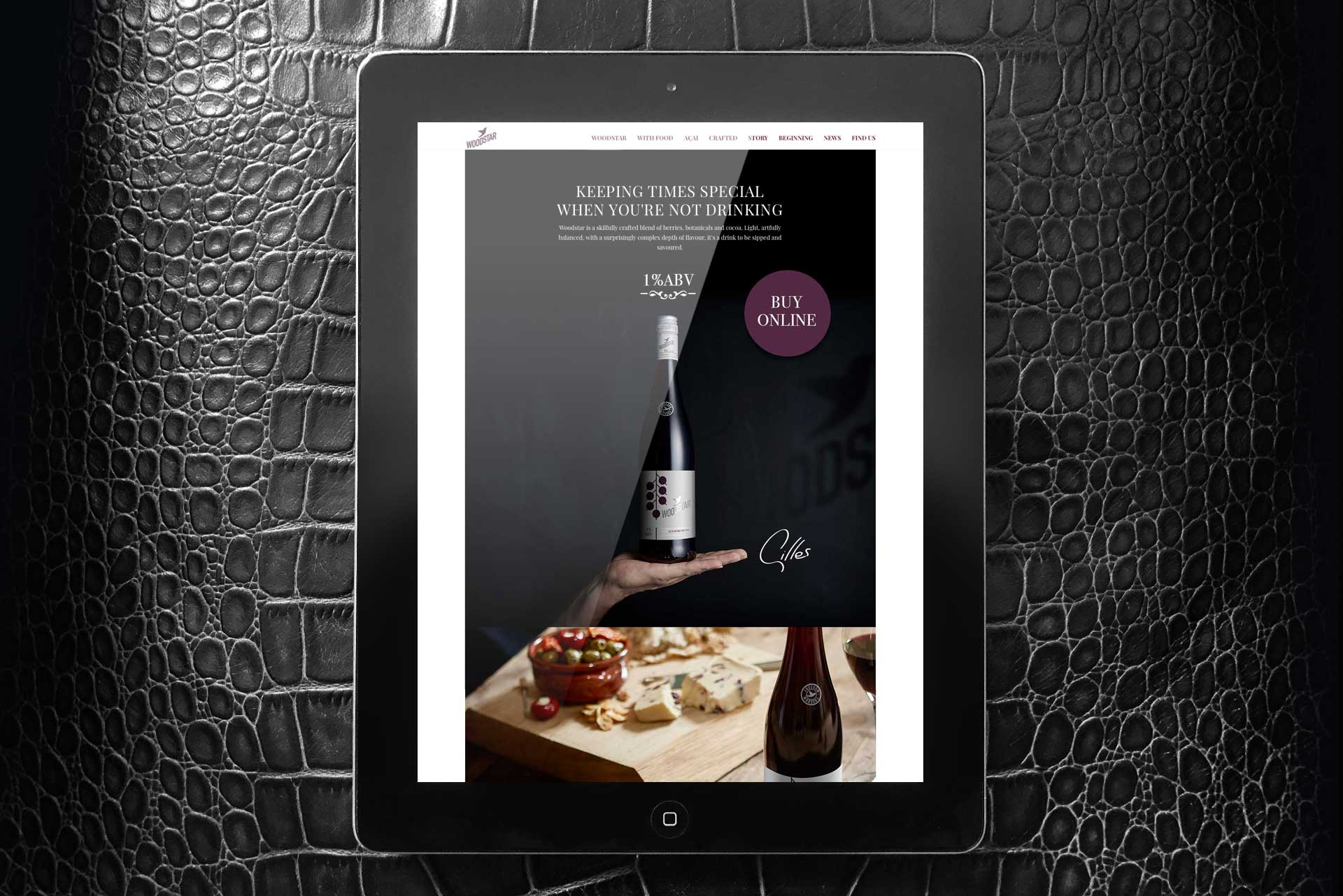 iPad with Woodstar Drink Website